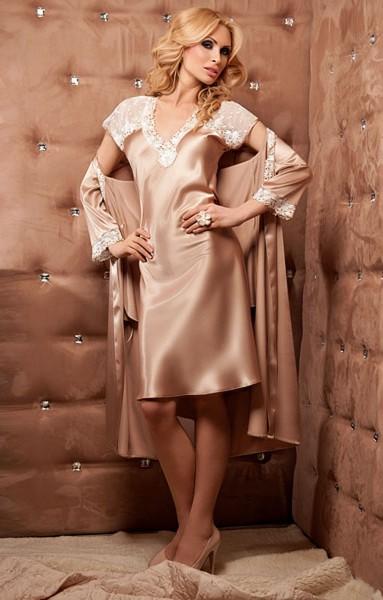 Luxus Seidensatin Nachtkleid Amber